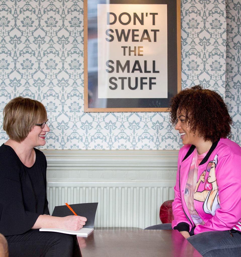 Journalist Helen Gent talking to a publicity client