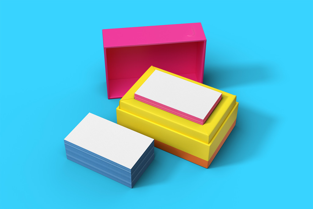 Multi-coloured boxes of business cards